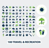 100 travel, vacation, recreation icons set, vector