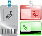 French curve. Id cards. Raster illustration.