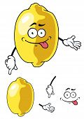 Cartoon happy smiling yellow lemon fruit