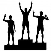 Editable vector silhouettes of three male athletes celebrating on a medal podium with each figure as