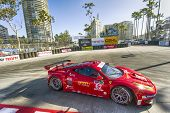 Long Beach, CA - Apr 11, 2014:  Risi Competizione Ferrari races through the turns at the TUDOR Unite