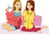 Illustration of a Pair of Girls Swapping Clothes