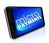 Micropayments Word Smart Cell Phone Send Money Digital Paying