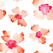 Red watercolor flowers - seamless pattern