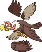 Cartoon vulture ready for animation. Vector clip art illustration with simple gradients. Each part o