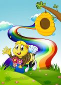 Illustration of a rainbow at the hilltop with a bee and a beehive