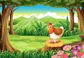 image of egg-laying  - Illustration of a hen laying eggs at the forest - JPG