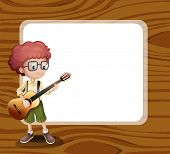 Illustration of a boy with a guitar standing in front of the empty template