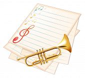 Illustration of an empty music paper with a trumpet on a white background