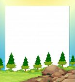 Illustration of an empty paper template with pine trees and rocks at the bottom