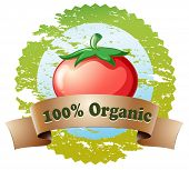 Illustration of a pure organic label with a tomato on a white background