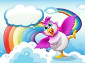 Illustration of a bird in the sky near the rainbow with an empty callout