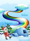 Illustration of Santa Claus near the igloo and a rainbow in the sky