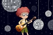 Illustration of a boy playing with his guitar at the disco house