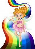 Illustration of a fairy standing at the rainbow on a white background
