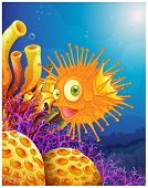 Illustration of an orange puffer fish near the coral reefs on a white background