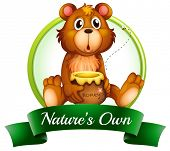 Illustration of a nature's own label with a bear on a white background