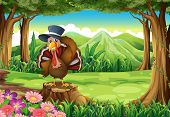 Illustration of a turkey at the forest standing above the stump