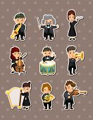 stock photo of orchestra  - Orchestra Music Player Stickers - JPG