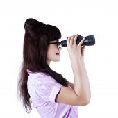 Businesswoman With Binoculars Isolated