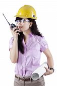 Engineer Talking On The Walkie-talkie