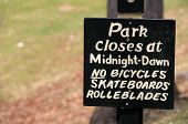 Hand painted sign at park entrance