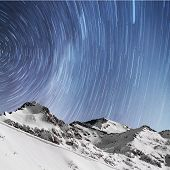 Star Trails, Snow Capped Mountains