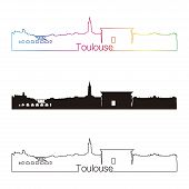 Toulouse Skyline Linear Style With Rainbow