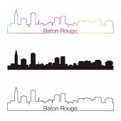 Baton Rouge Skyline Linear Style With Rainbow