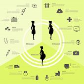 Pregnancy and birth infographics, pregnancy stages