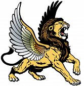 roaring winged lion