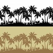 Palms and flowers silhouettes, set seamless