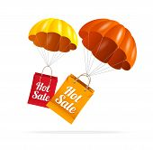 Vector sale labels with parachute