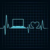 Medical technology concept, heartbeat make a laptop