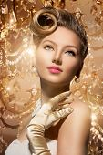Luxury Styled Beauty Lady Portrait. Retro Woman. Beauty Fashion Vintage Style Girl with Beautiful Lu