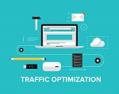 Website Traffic Optimization Flat Illustration