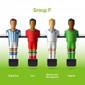 Table football / foosball players. Group F - Argentina, Iran, Bosnia and Herzegovina, Nigeria. Vecto