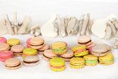 Appetizing colorful cookies with cream on table with wooden bird