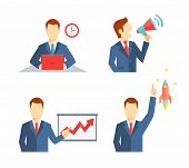 Set of businessman icons in flat style