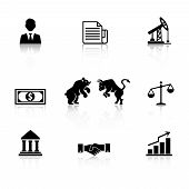 Vector business icon set in black silhouette