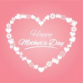 mother's day greeting design with icons arranged in a heart shape
