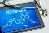 Tablet with the chemical formula of sildenafil