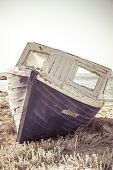 Vintage Shoot Of An Old  Aground Ship At Beach