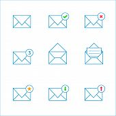 Thin mail icons
