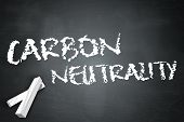 picture of carbon-footprint  - Blackboard Image with Carbon Neutrality related wording - JPG