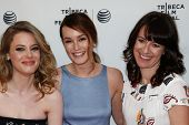NEW YORK-APR 18: (L-R) Actors Gillian Jacobs, Leighton Meester and director Susanna Fogel attend the
