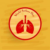 World Asthma Day sticker, tag or label with lungs on yellow background.