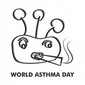 World Asthma Day concept with cigarette on white background.
