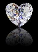 stock photo of heart shape  - Heart shape diamond on glossy black background - JPG