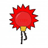 cartoon red light bulb